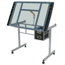 Home Drawing Desk Station Tempered Glass Adjustable Drafting Table W/ 4 Wheels