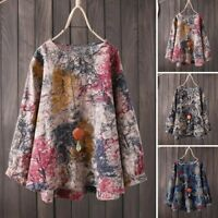 Women Long Sleeve Floral Print Casual Shirt Tops Round Neck Oversize Blouse Plus