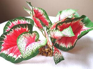 "4"" SM Pink & Green CALADIUM Bush Artificial Silk Aquarium PLANT with STONE BASE"
