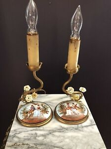 Pair Antique Brass Porcelain French Candlestick Boudoir Lamps Working