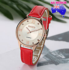 Wholesale Red Leather Rose Gold Plated Steel Dial Quartz Women Wrist Watch