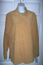 CREAZIONI  Women's Medium Gold Faux Suede Shirt Jacket Top  Long Sleeves NWT