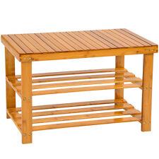 Holz Schuhregal mit Sitzbank Hocker Schuh Regal Bambus Schuhschrank Schuhablage