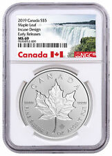 2019 Canada 1 oz Silver Maple Leaf Incuse $5 Coin NGC MS69 ER SKU57185