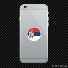 Round Serbian Flag Cell Phone Sticker Mobile Serbia SRB RS