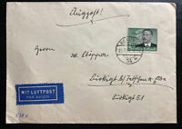 1939 Berlin Germany Airmail Cover #538 Otto Lilienthal Stamp