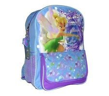 "Backpack 16.5"" Multi-Compartment Tinkerbell Fairies Blue Purple NEW"