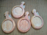 SET OF FOUR Wooden Seahorse Beach Themed Coasters Ocean - Very Good Condition!