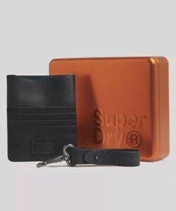 Superdry Mens Leather Travel Wallet & Keyring Set Brithday Gift Idea For Him