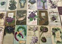 Lot of 25 Pretty *Purple~Violets Flowers~Vintage~Floral Greetings Postcards-s309