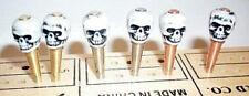 6 Skull-Top Cribbage Board Pegs 2 ea.Brass, S.Steel Copper Metal,,Velvet Bag  a