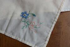 Vintage Linens Set Of 4 Napkins Off-White W/ Embroidered Blue Flower Green Pink