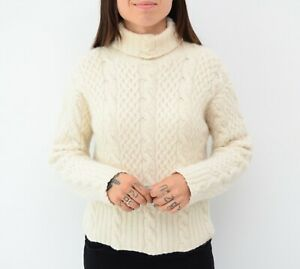Womens TSE Pure CASHMERE Knit Cream Sweater Turleneck Jumper Long Sleeves Size S