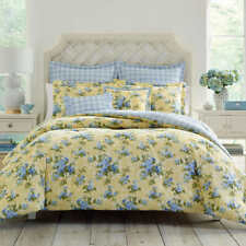 Full Queen Bed Comforter Set Reversible Bedding Cassidy Yellow Blue Cotton 7Pc
