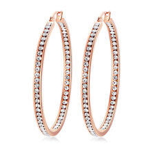 Clear Crystal Rose Gold Stainless Steel Party Women Jewelry Hoop Earrings FH7477