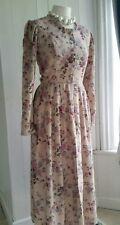 True vintage Laura Ashley pink rose/floral prairie tea dress, size 10
