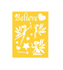 "Stencil Sheet Fairy Fairies Believe 8 1/2"" x 11 Plastic Reusable"