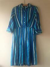 VINTAGE 1950 BLU A RIGHE 100% cotone gon na dress Uk12 14 Medio W32 ""
