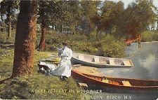 SYLVAN BEACH NEW YORK QUIET RETREAT IN WOOD RIVER CANOE BOAT POSTCARD c1911