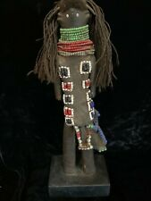 "Antique African art hand carved wood fertility figure 15"" beads leather hair"