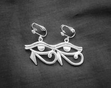 Egyptian Eye of Ra (Re) Silverplated Drop Dangle Clip On Earrings, Gothic, Egypt