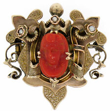 Antique Victorian 10k Gold Carved OX BLOOD Coral Cameo Seed Pearl Brooch Pendant