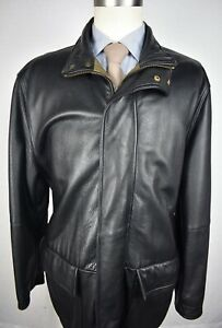Facconable Solid Black 100% Cowhide Leather Zip Up Basic Coat Size: Large