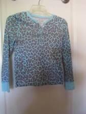 Faded Glory Blue/Gray Animal Print Long Sleeve Top w/ Blue Rhinestones LG 10-12