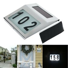 Solar Powered LED Light House Number Door Sign Plaque Street Address Lamp