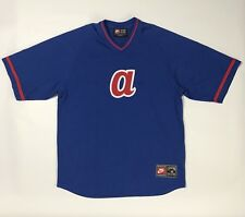 Nike Atlanta Braves Jersey Mens Large Blue Red V Neck Cooperstown Collection