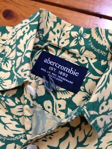 Vintage Abercrombie Hawaiian SS Shirt Mens Large Yellow Green Floral Fish #30