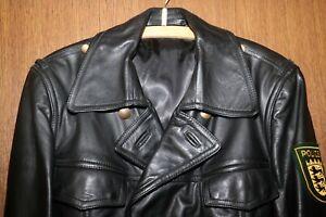Original Polizei-Lederjacke, ehemalige Polizeiuniform, Größe 94, schwarz