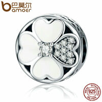 Bamoer Authentic S925 Sterling Silver Charm With Clear CZ Happy Petals Jewelry