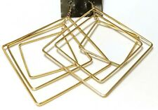 EXTRA LARGE SQUARE HOOP EARRINGS GOLD TONE 5.5 INCH DANGLE LAYERED HOOPS