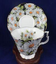Royal Albert England Tea Cup and Saucer Sylvia Bold White Daisy Chintz on Black