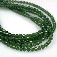 Natural Genuine 6mm Green Nephrite Jade Gemstone Round Loose Beads 15 inches