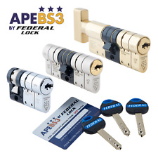 Euro Door Cylinder Lock HIGH SECURITY 3* Star Double UPVC Front Snap-Safe TS007