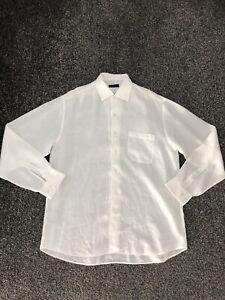 Canali Men's 100% Linen Long Sleeve Shirt White Size XL