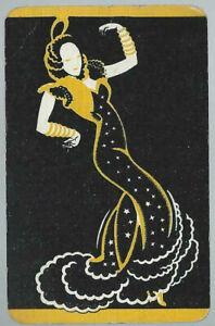 Genuine Swap Vintage Playing Card Silhouette   Lady  Dancing Art Deco