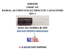 Rubycon 1500uF 16V SERIES ZLH RADIAL ELECTROLYTIC CAP 10,000HRS @ 105c QTY: 1