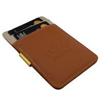 Mens Money Clip Wallet Brown Cream Gold Stainless Steel Cash Card Holder
