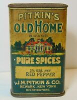 Rare Vintage 1930s PITKIN OLD HOME GRAPHIC SPICE TIN 2 1/2 OZ Newark New Jersey