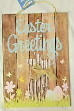 """Easter Greetings Hanging Sign Decor 9.5"""" X13.5"""" w"""