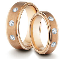 HIS & HERS 8MM/6MM Tungsten Rose Gold Wedding Band TWO RING SET w/ CZ Stones