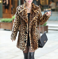 Hot Womens Leopard Printed Coat Faux Fur Furry Long Jacket New Trench Outwear UK