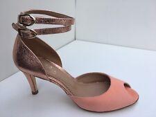 Maloles Elisa Peep Toe Suede/Metallic Heels Champagne/Apricot UK 4 *RRP £230*