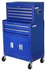 Halfords Tool Centre Cabinet Blue Steel 6 Drawers Key Lock Swivel Castor Storage