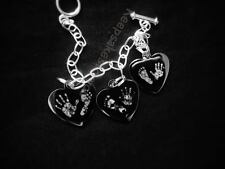 Engraved 3x charm brascelt with  Hand/ Foot Print  - Jewellery .