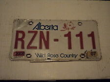 2006 2007 ALBERTA CANADA wild rose country License Plate RZN 111