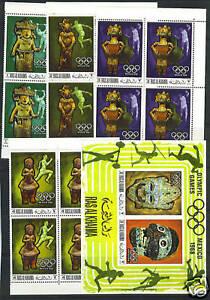 UAE-RAS AL KHAIMA 1966 OLYMPICS Mi. 259-262 + SOUVENIR